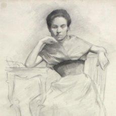 Arte: RAFAEL HIDALGO DE CAVIEDES (QUESADA, JAÉN, 1864 - MADRID, 1950) DIBUJO A CARBON. RETRATO FEMENINO. Lote 213745421