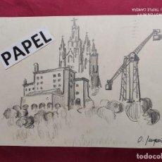 Arte: DIBUJO ORIGINAL A LAPIZ. FIRMADO. O. JUNYENT. Lote 213888452