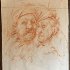 Arte: ATTRIBUTED CIRCLE JEAN FRANCOIS DE NEUFFORGE TWO MALES 1741 1791 DRAWING. Lote 213905626