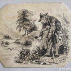 Arte: MARAVILLOSA ACUARELA ORIGINAL DE FINALES DEL SIGLO XVIII-PRINCIPIOS DEL XIX, RETRATO DE UN ANCIANO. Lote 214117863