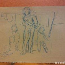 Arte: ORIGINAL. OBRA DE FRANCESC GASSÓ. MUJER Y NIÑOS. MEDIDAS 21*15 CM. Lote 214197051