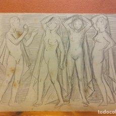 Arte: ORIGINAL. OBRA DE FRANCESC GASSÓ. MUJERES. MEDIDAS 21*14 CM. Lote 214197481