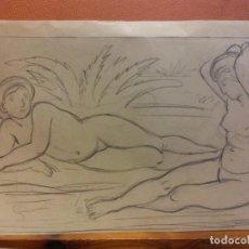 Arte: ORIGINAL. OBRA DE FRANCESC GASSÓ. MUJERES. MEDIDAS 24*16 CM. Lote 214197701
