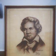 Arte: RETRATO DE BEETHOVEN, DIBUJO DE GRAN CALIDAD, FIRMADO Y ENMARCADO. 32X39CM. Lote 214220790