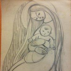 Arte: ORIGINAL. OBRA DE FRANCESC GASSÓ. ARTE RELIGIOSO. MEDIDAS 15*21 CM.. Lote 214280935