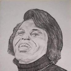 Arte: RETRATO DE JAMES BROWN A CARBONCILLO. FORMATO A3. FIRMADO CQC. DANI.. Lote 214444503