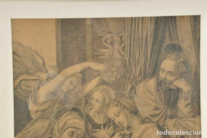Arte: Renacimiento italiano dibujo a lapiz escena bíblica - Foto 2 - 214591886