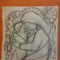 Art: ORIGINAL. OBRA DE FRANCESC GASSÓ. LA VIRGEN Y EL NIÑO. MEDIDAS 15*11 CM.. Lote 214616625