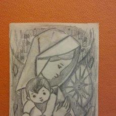 Art: ORIGINAL. OBRA DE FRANCESC GASSÓ. LA VIRGEN Y EL NIÑO. MEDIDAS 15*11 CM.. Lote 214616692