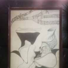 Arte: ALCOY. CUADRO HOMENAJE A PERESEJO. DIBUJO, FIRMADO Y FECHADO. EDUARD 77.. Lote 214813435