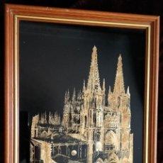 Arte: DIBUJO RAYADO S. CARTÓN NEGRO Y CON PAN DE ORO / * CATEDRAL DE BURGOS *. ENMARCADO.. Lote 214914233