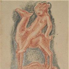 Arte: DIBUJO ORIGINAL A SANGUINA Y LAPIZ DE RUIZ DE LUNA FECHADO 1942 MEDIDAS 11 X 17 CM. Lote 215302866