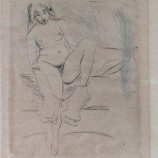 Arte: DIBUJO A LAPIZ DESNUDO FEMENINO PP. S.XX FIRMA ILEGIBLE. ESTILO TOULOUSE LAUTREC. Lote 215389572