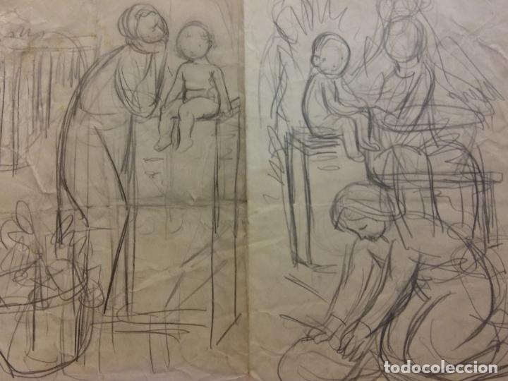 ORIGINAL. OBRA DE FRANCESC GASSÓ. MUJER Y NIÑO. MEDIDAS 38*27 CM. (Arte - Dibujos - Contemporáneos siglo XX)
