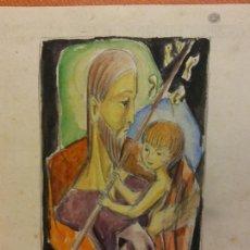 Arte: ORIGINAL. OBRA DE FRANCESC GASSÓ. SAN JOSÉ Y EL NIÑO. MEDIDAS 16*16 CM.. Lote 215453866