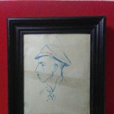 Arte: RETRATO DE SOLDADO MILICIANO ,DIBUJADO LAPIZ ,GUERRA CIVIL ESPAÑOLA. Lote 215464615