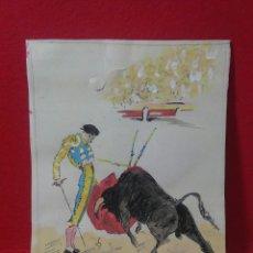 Arte: ANTIGUO DIBUJO TAUROMAQUIA APUNTES DE ANGEL ZAPATA, PLUMILLA ,AÑOS 50. Lote 215466047