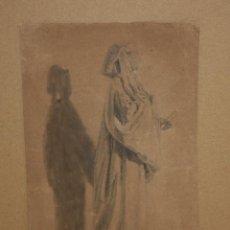 Arte: ANONIMO. DIBUJO A CARBÓN DEL SIGLO XIX. PERSONAJE. Lote 215623585