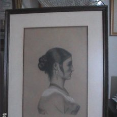 Arte: ANTIGUO DIBUJO A LÁPIZ Y CARBÓN. RETRATO FEMENINO. FIRMADO J. CASTELLÓ.. Lote 215871195