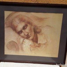 Arte: A. VILA ARRUFAT. MUJER DESCANSANDO. DIBUJO SANGUINEA Y CLARIÓN. 1981.. Lote 215960760