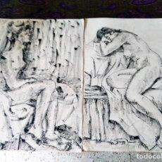 Arte: DOS DIBUJOS A TINTA . ANÓNIMOS - DESNUDOS FEMENINOS. Lote 216014372