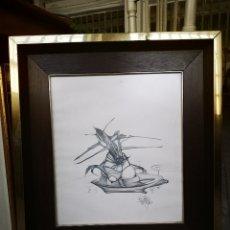Arte: DIBUJO SURREALISTA, FIRMADO Y FECHADO, CON MARCO 50X56. Lote 216434761