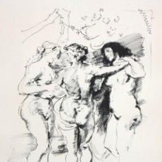 Arte: JULIÁN GRAU SANTOS (CANFRANC, HUESCA, 1937) DIBUJO A TINTA. LAS TRES GRACIAS DE RUBENS. Lote 216588695