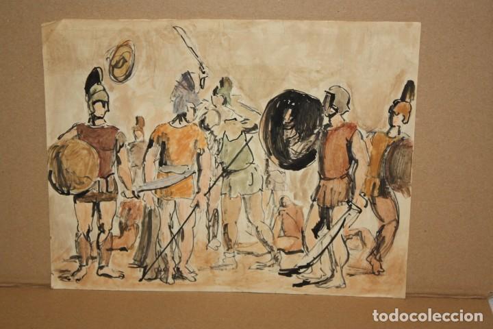 ANONIMO. TÉCNICA MIXTA SOBRE PAPEL. SOLDADOS (Arte - Dibujos - Contemporáneos siglo XX)