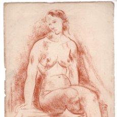 Arte: ANTONI COSTA, MUJER DESNUDA SENTADA, 1930'S, DIBUJO AL CARBONCILLO, FIRMADO. 35,5X25CM. Lote 216665822