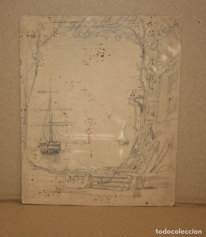 ANONIMO. DIBUJO A LAPIZ Y CLARION DEL SIGLO XIX. PAISAJE (Arte - Dibujos - Contemporáneos siglo XX)