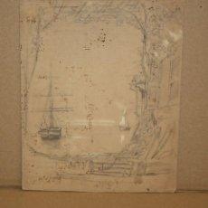 Arte: ANONIMO. DIBUJO A LAPIZ Y CLARION DEL SIGLO XIX. PAISAJE. Lote 216670108