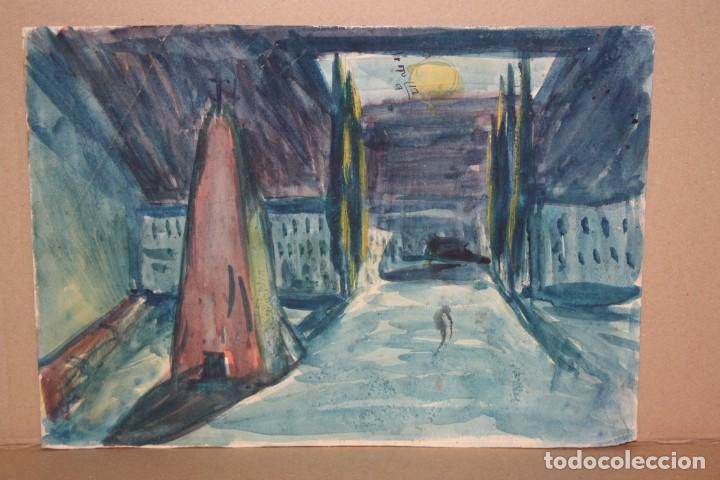 ILEGIBLE. ACUARELA SOBRE PAPEL. PAISAJE (Arte - Dibujos - Contemporáneos siglo XX)