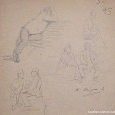 Arte: DIONIS BAIXERAS. APUNTES A LÁPIZ DE PERSONAJES. POR AMBAS CARAS DEL PAPEL. FIRMADOS. 20 X 15 CM. Lote 216717730