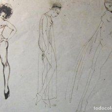 Arte: PEQUEÑO DIBUJO A TINTA ATRIBUIDO A ISMAEL SMITH. POR AMBAS CARAS. FIGURAS FEMINAS. 8 X 11 CM. Lote 216719047