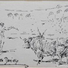 Art: DIBUJO PLUMILLA ROBERTO DOMINGO. TOROS. TAUROMAQUIA. Lote 216760952