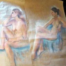 Arte: DOS DIBUJOS ORIGINALES- DESNUDOS MUJERES- A CARBONCILLO COLOR SOBRE PAPEL- TAMAÑO 110 X 57 CM.. Lote 216831992