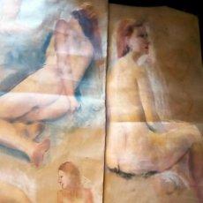 Arte: DOS DIBUJOS ORIGINALES - DESNUDOS MUJERES- A CARBONCILLO Y A COLOR SOBRE PAPEL - TAMAÑO 112 X 56 CM.. Lote 216832025
