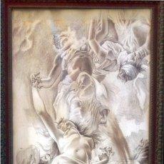 Arte: PRECIOSO DIBUJO AL CARBÓN SOBRE CARTULINA IMPERMEABLE DE -ANGELES ENTRELAZADOS- 82 X100 CM.. Lote 216927721