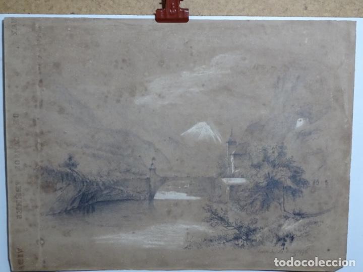 DIBUJO A LÁPIZ Y CLARION ANONIMO DEL AÑO 1876. (Arte - Dibujos - Modernos siglo XIX)