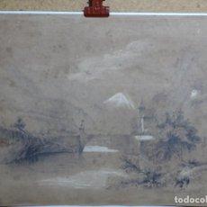 Arte: DIBUJO A LÁPIZ Y CLARION ANONIMO DEL AÑO 1876.. Lote 216931216