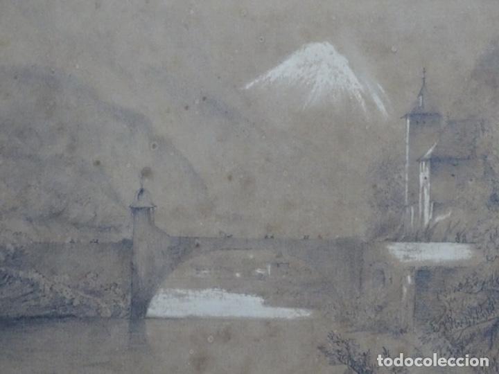 Arte: Dibujo a lápiz y clarion anonimo del año 1876. - Foto 2 - 216931216