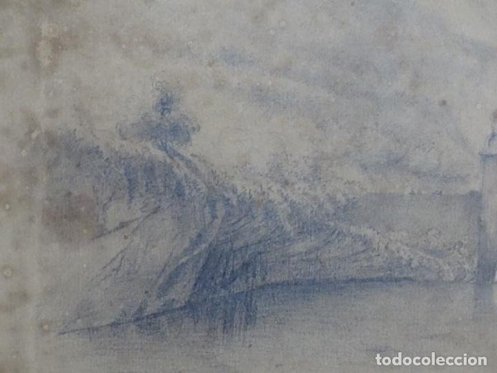 Arte: Dibujo a lápiz y clarion anonimo del año 1876. - Foto 3 - 216931216