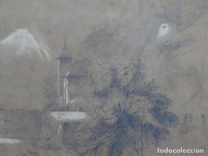 Arte: Dibujo a lápiz y clarion anonimo del año 1876. - Foto 4 - 216931216