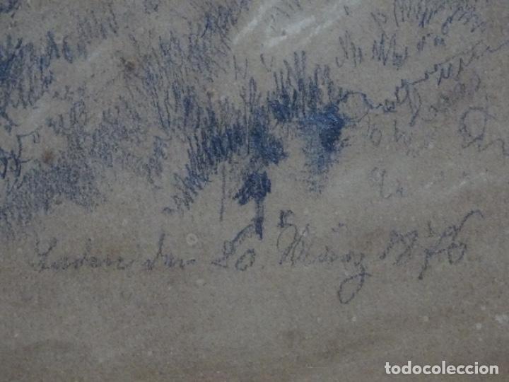 Arte: Dibujo a lápiz y clarion anonimo del año 1876. - Foto 12 - 216931216