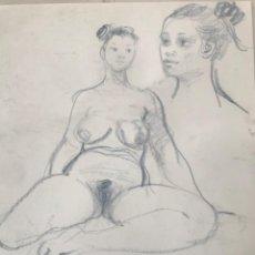 Arte: EMÍLIA CASTAÑEDA. DESNUDÓ FEMENINO. DIBUJO A DOBLE CARA.. Lote 216949817