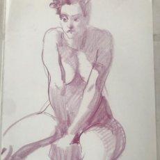 Arte: DIBUJO A LA CERA DE EMÍLIA CASTAÑEDA. DESNUDÓ FEMENINO.. Lote 216951362