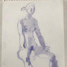 Arte: DIBUJO A LA CERA A DOBLE CARA DE EMÍLIA CASTAÑEDA.. Lote 216951708
