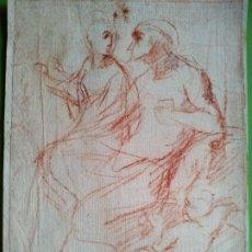 Arte: DIBUJO A SANGUINA DE DOS PERSONAJES, SIGUIENDO MODELOS DE GOYA SIGLO XVIII. Lote 217134990