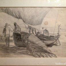 Arte: PESCADORES EN LA PLAYA. DIBUJO AL CARBON A DOS CARAS. FDO J SOROLLA 1903.. Lote 217177026