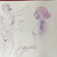 Arte: DIBUJO A DOBLE CARA DE EMÍLIA CASTAÑEDA.. Lote 217195885
